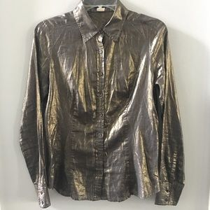 J Crew Shimmer Shiny Button Down Shirt Size 4